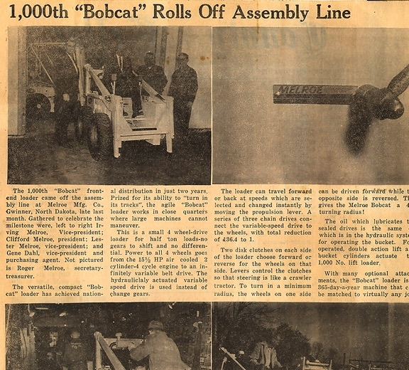 Newspaper clipping tells of the milestone 1000th Bobcat loader built in Gwinner.