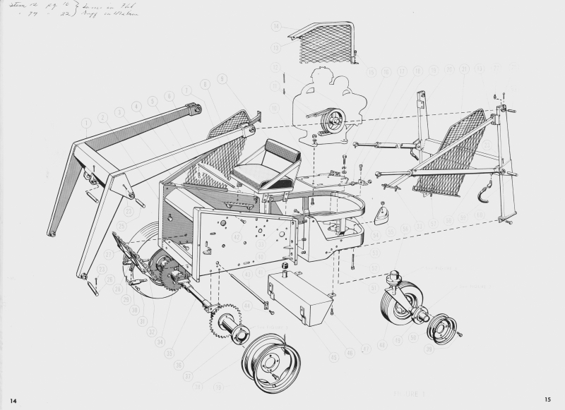 The assembly drawing for the M200 shows the simple drive system with exposed chains and sprockets that made it – and the M400 – vulnerable to damage.