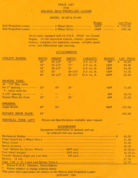 A 1961 price list shows what you'd have paid for the M200 and M400 Melroe self-propelled loaders, with a variety of attachments – utility scoops, manure forks, angle broom/sweeper, rotary snow plow, and forklift.