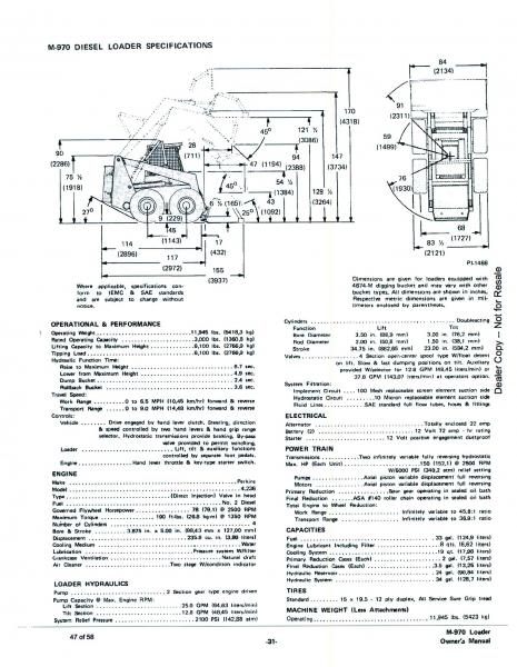 M970 Spec Sheet, 1970