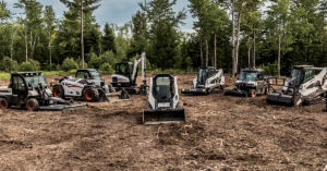 Lineup of Bobcat equipment: Toolcat utility work machine, VersaHANDLER telescopic tool carrier, compact excavator, compact track loader, utility vehicle, skid-steer loader