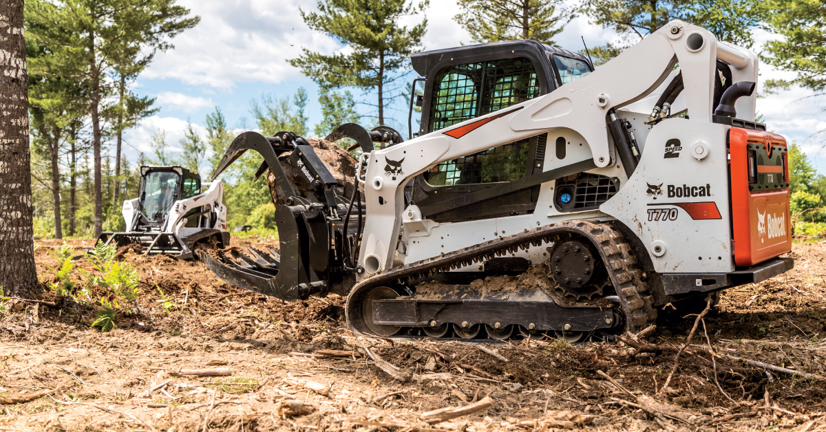 Bobcat T770 compact track loader with grapple on construction site