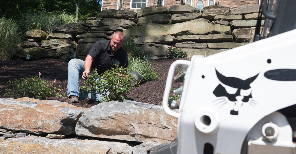 Landscaper Bob Urban plants a shrub on a residential hardscape project