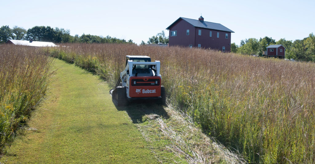 Chase Burns mowing grass with his Bobcat T650 compact track loader and Brushcat attachment.