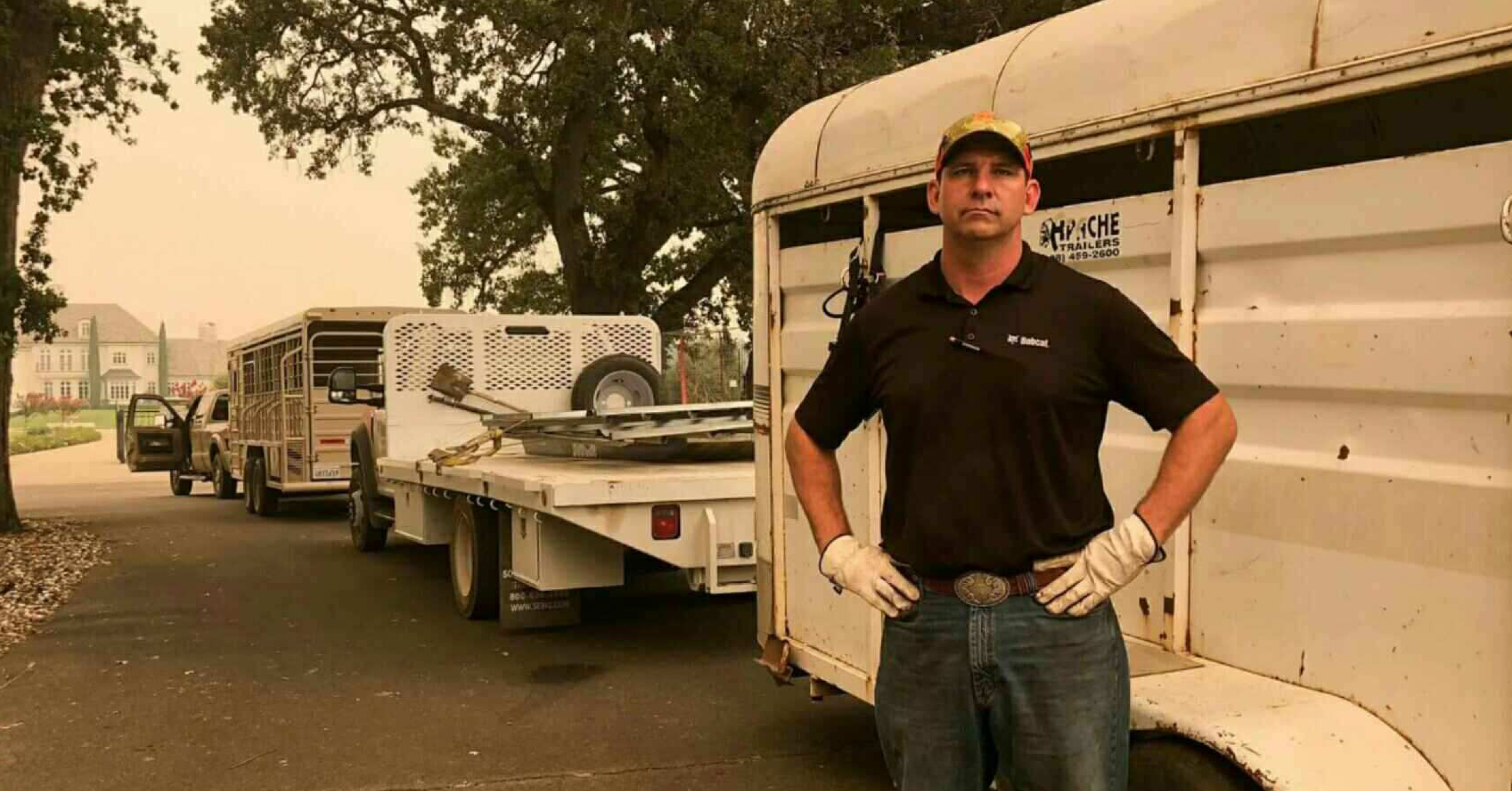 Bobcat of Redding sales specialist Tucker Zimmerman used a truck and trailer to help evacuate animals when the Carr fire threatened the community.