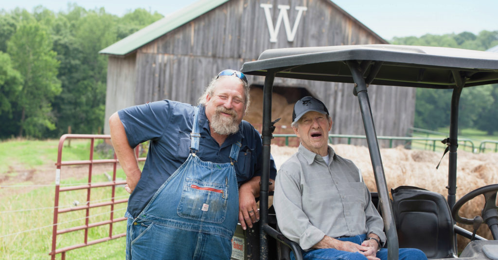 Tom Westmoreland and Jim Westmoreland on the farm.