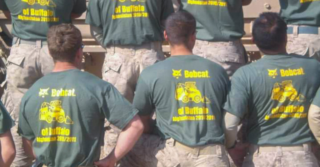 Members 3rd Battalion 25th Marines I Company wear Bobcat of Buffalo shirts while in Marjah, Afghanistan.