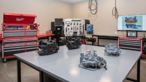 Machine components in Bobcat Training Center Components Room