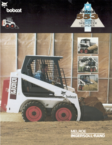 "Click to download PDF of the 850 lb. rated ""C-Series"" 553 Bobcat loader, with a 0,93 L liquid-cooled diesel engine."
