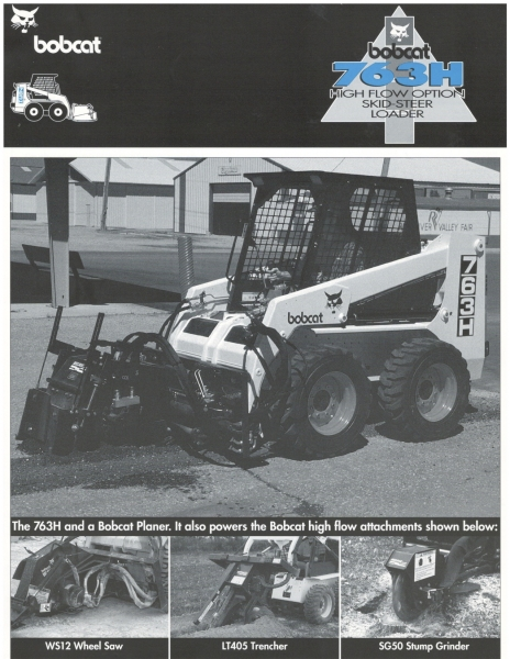 "The model 763H was first manufactured in 1995. The ""7"" indicated its frame size, the ""6"" indicated it was a ""long-wheelbase"" model, ""3"" that it had a liquid-cooled diesel engine, and the ""H"" indicated it had ""high-flow"" auxiliary hydraulics. Click to download PDF."