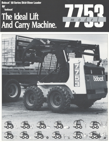 "The 753 was modified with a vertical path lift arm configuration and called the 7753 (and later the 773). The 7753 had 1,700 lbs. rated capacity and a 2,2 L liquid cooled diesel engine. It was designed to serve the ""lift-and-carry"" market segment, and gained rapid customer acceptance (although the charcoal-painted lift arms were not a hit). Click to download PDF."