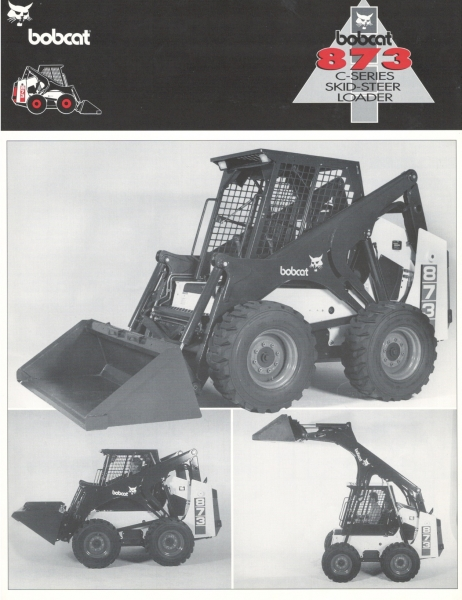 In 1995, another long-wheelbase, vertical lift path loader was introduced as the Bobcat 873. This is the first spec sheet for this model, which had a 2,300-lb. rated capacity, 124-in. lift height, and a 2,73 L oil-cooled Deutz diesel engine. For a few years, the 873 lift arms were painted charcoal, rather than white. Click to download PDF.