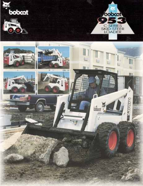 The Bobcat 953 was an updated version of the 943. Like the other models, it had a transversely mounted engine. The 953 had a 3,87 L Perkins diesel engine, 125-in. lift height, and 2,400 lbs. rated operating capacity. Click to download PDF.