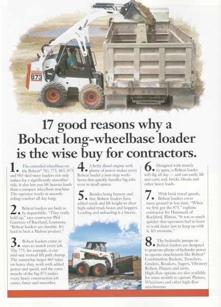 A 1998 2-page ad touted the benefits of long-wheelbase and vertical lift path loaders.