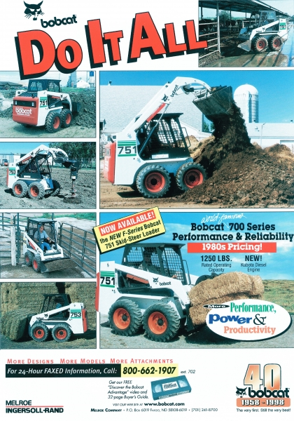 "1998 ad with the theme ""Do it all"" showed Bobcat machines in many different applications."