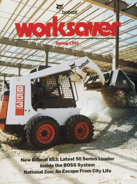The 853 premiere was featured on the cover of WorkSaver in the Spring of 1991, along with a story about the new BOSS system.