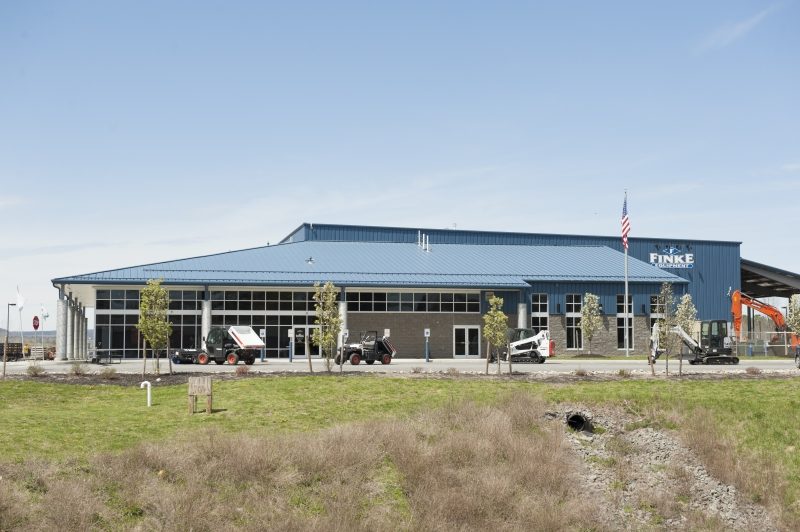 Exterior shot of the front of Finke Equipment's new facility