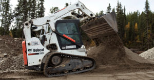 Sean O'Donnell dumping dirt in his T650 compact track loader