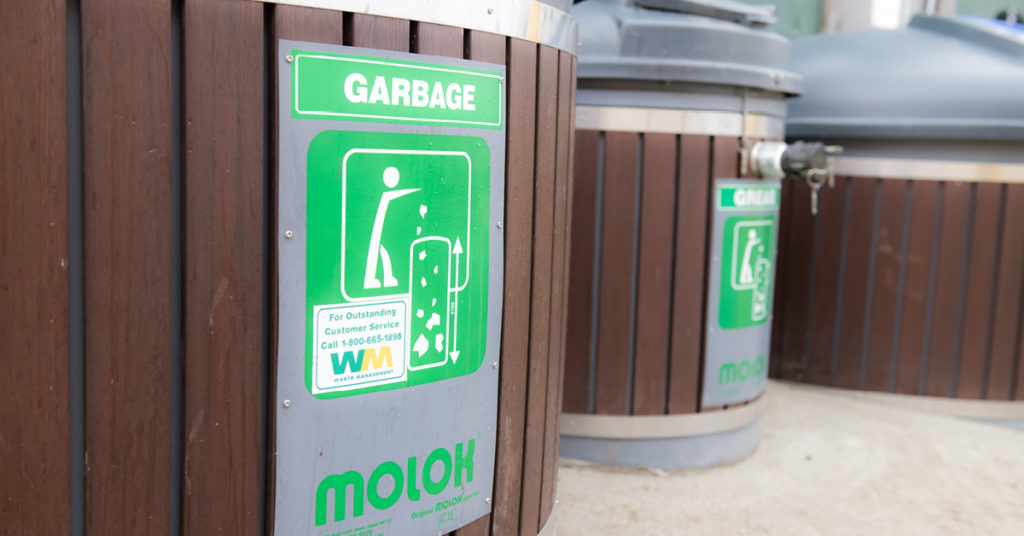 Three Molok containers used to manage waste