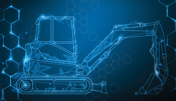 Blue Illustration Of A Compact Excavator