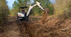Brian Olsen Digs A Trench For A Waterline On His Homestead With His Bobcat E35 Mini Excavator